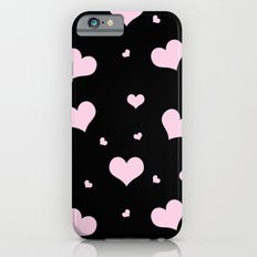 Pretty pink heart pattern on black Slim Case iPhone 6s