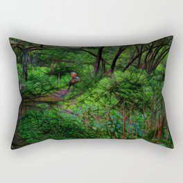Rider Crosses The Trail Rectangular Pillow