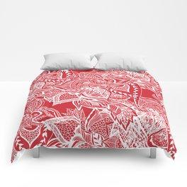 Modern red flame scarlet white hand drawn floral mandala pattern Comforters