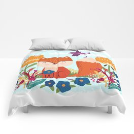 A Fox In The Flowers With A Flying Feathered Friend Comforters