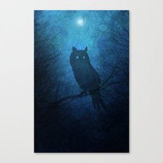 Painted Owl Silhouette Canvas Print