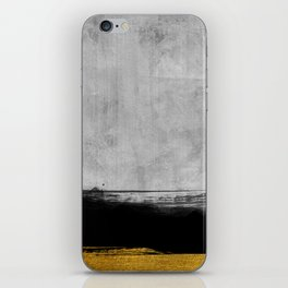Black and Gold grunge stripes on modern grey concrete abstract backround I - Stripe - Striped iPhone Skin