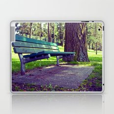 Empty park bench Laptop & iPad Skin