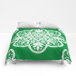 Floral Doily Pattern | Green and White Comforters