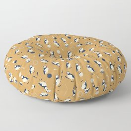 Circus of Puffins - Gold Floor Pillow