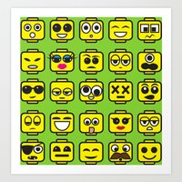 Yellow Cartoon Faces on Green Background Art Print