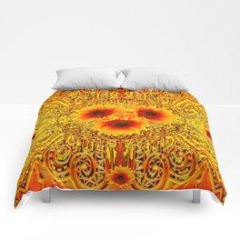 ART DECO GOLDEN SUNFLOWERS ABSTRACT Comforters
