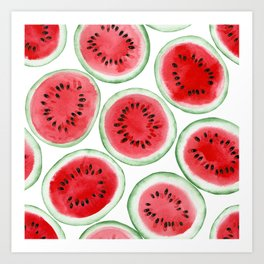 Watermelon slices pattern Art Print