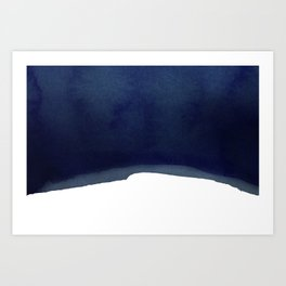 Minimal Navy Blue Abstract 02 Landscape Art Print