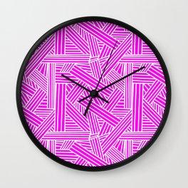Sketchy Abstract (White & Magenta Pattern) Wall Clock