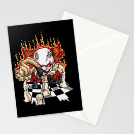Fiery Clown With Chessboard - Chess Stationery Cards