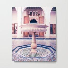 Tiled Moroccan Fountain in a Courtyard Fine Art Print Metal Print