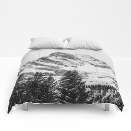 black and white like forest and snow Comforters