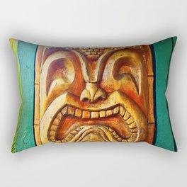 Hawaii retro wood carving tiki face close-up Rectangular Pillow