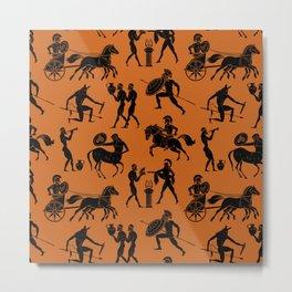 Greek Figures // Dark Orange Metal Print