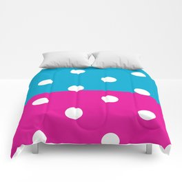Half Blue and half pink dots pattern Comforters