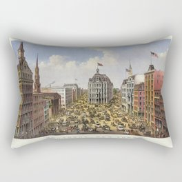 Broadway, New York by Currier & Ives (1875) Rectangular Pillow