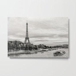 Eiffel Tower and boats on Seine river in Paris, France Metal Print