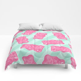Pink Gummi Bears on Mint Background Pattern Comforters