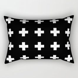 Swiss Cross Black Rectangular Pillow