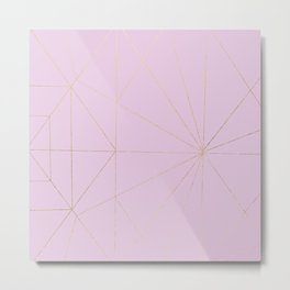 Abstract Geometric Blush Pink Faux Gold Foil Stripes Metal Print