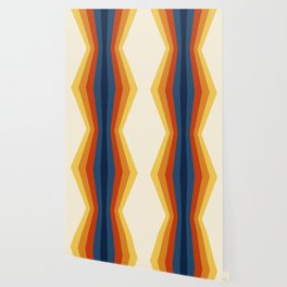 Bright 70's Retro Stripes Reflection Wallpaper