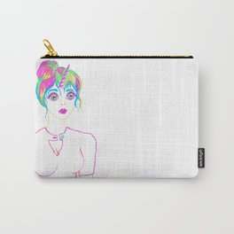 Psychedelic Rainbow Unicorn Girl Carry-All Pouch