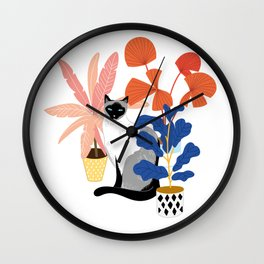 siamese cat and plants Wall Clock