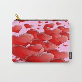 RED CANDY VALENTINE HEARTS IN PINK ART Carry-All Pouch