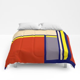 Abstract #6 Red Blue Yellow Beige Comforters