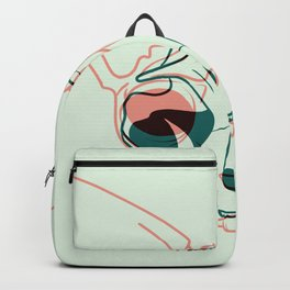 Pastel Green and Coral Sphynx Cat Skull Overlay - Hairless Kitty Double Exposure Line Drawing Backpack