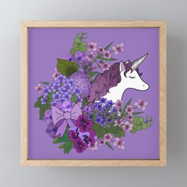 Unicorn in a Purple Garden Framed Mini Art Print