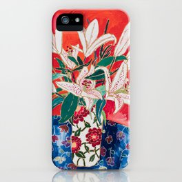 Blush Lily Bouquet on Orange iPhone Case
