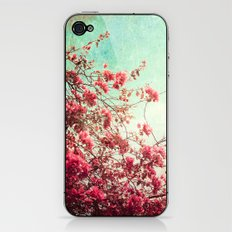 Pink Flowers on a Textured Blue Sky (Vintage Flower Photography) iPhone & iPod Skin