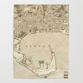 Vintage Map of Messina Italy (1900) Poster