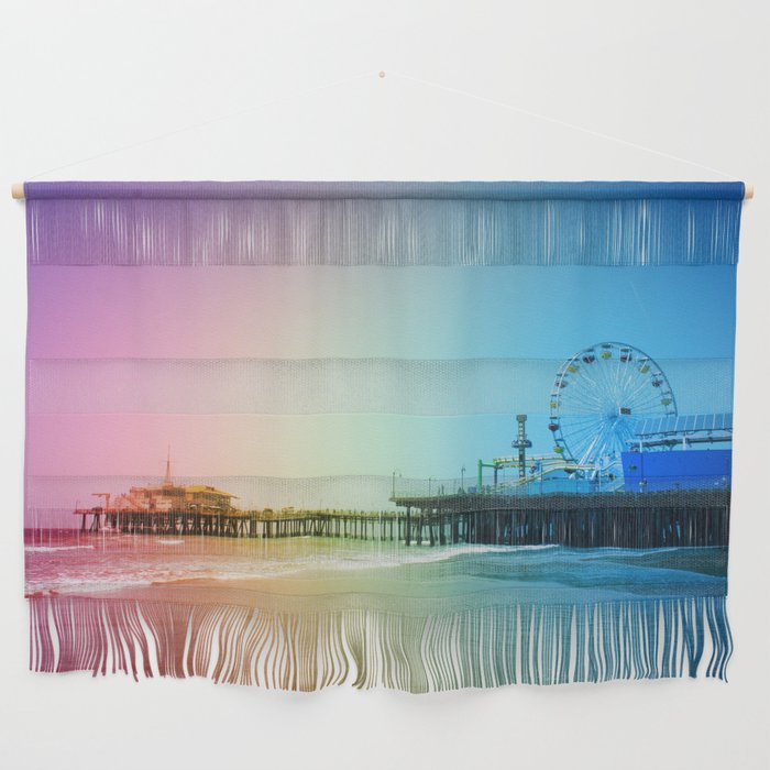 Santa Monica Pier Rainbow Colors LGBTQ Gay Pride Wall Hanging