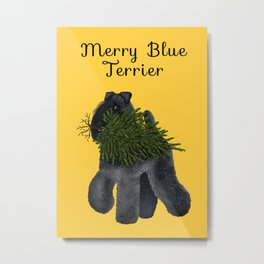 Merry Blue Terrier (Yellow Background) Metal Print