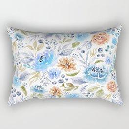 Watercolor Floral Garden Rectangular Pillow