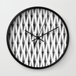 Grey/Gray diagonal woven texture - for a punchy monochrome look Wall Clock