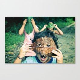 Kids with leaf masks Canvas Print