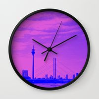 cityscape Wall Clocks featuring Cityscape by DuniStudioDesign