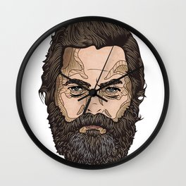 The Face Of Nick Offerman Wall Clock