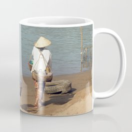 Lao Women going to the Market on the Mekong River Coffee Mug