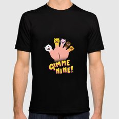 Cat Fingers - gimme 9! Black Mens Fitted Tee MEDIUM