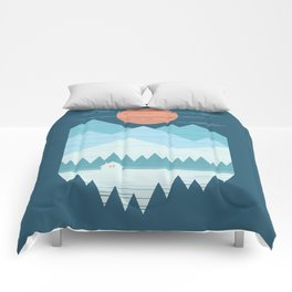 Cabin In The Snow Comforters