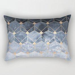 Blue Hexagons And Diamonds Rechteckiges Kissen