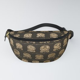 Maya Calendar Glyphs pattern Gold on brown Fanny Pack