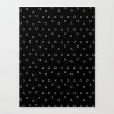 black gaming pattern - gamer design - playstation controller symbols Canvas Print