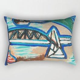 Brisbane River Painting Rectangular Pillow