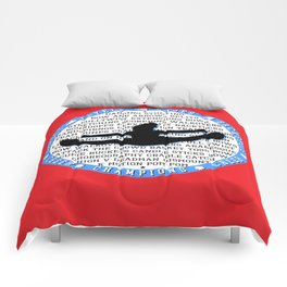 cheer blue on red Comforters